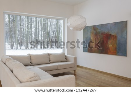 Designers interior - Living room with a painting - stock photo
