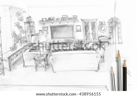 designers workplace with graphical sketch of living room