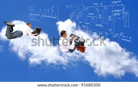 Designing of innovative systems of telecommunication communication and the new Internet of space speed - stock photo