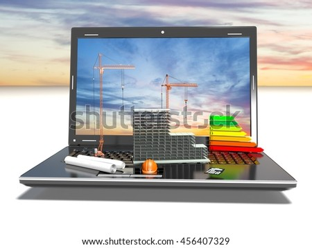 Designing of project. Draws and laptop. Concept, 3d render