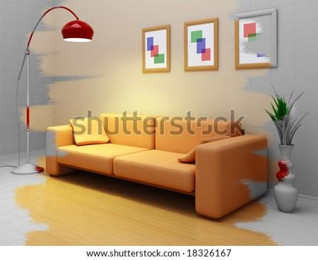 designing the interior - stock photo