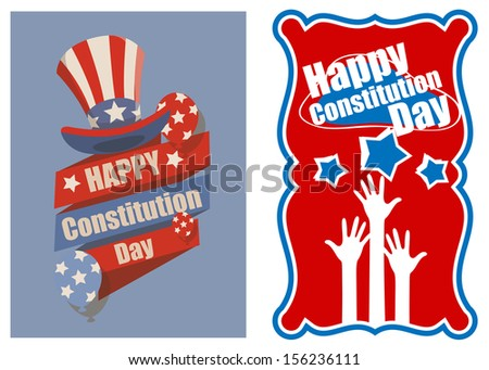 Designs and banner for USA - Constitution Day Illustration