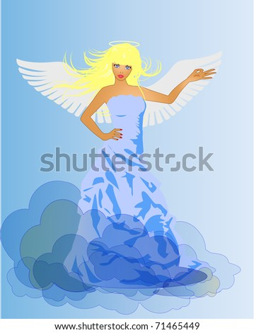 Desire and Innocence. Angel. Illustration of beautiful girls in retro style - stock photo