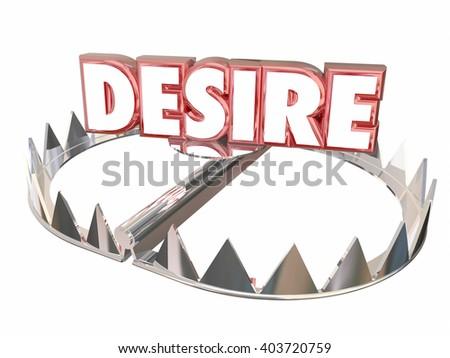 Desire Passion Warning Danger Love Lust Risk Bear Trap 3d - stock photo