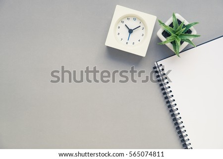 office table top view. Desk Above, Table Top View Of Office With Notebook, Clock And Plant On E