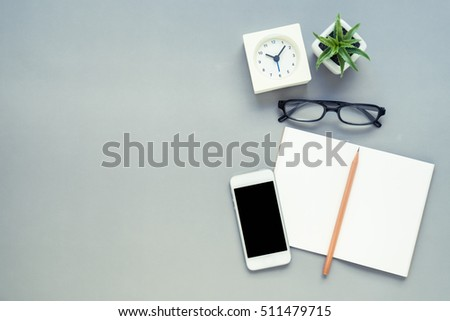 office desk table tops. desk above table top view of office with notebook pencil mobile phone tops