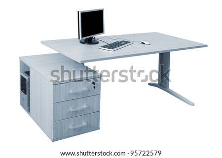 modern office space desk and a modern computer on a white background