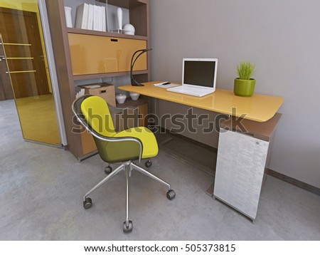Desk and chair in modern living room  Workspace  Furniture yellow and brown  colors Desk Chair Stock Images  Royalty Free Images   Vectors   Shutterstock. Living Room Desk Chair. Home Design Ideas