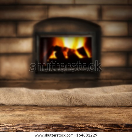desk and fireplace  - stock photo