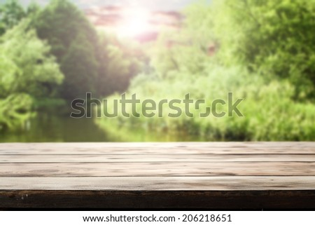 desk and river  - stock photo