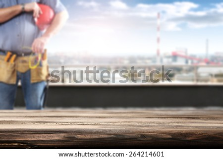 desk and worker  - stock photo