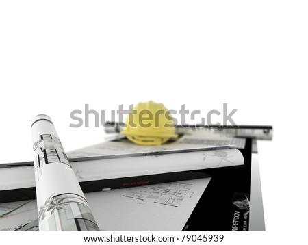 desk architect - stock photo