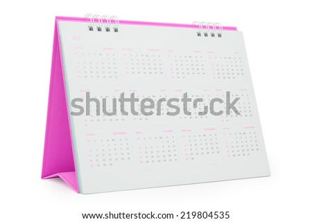 Desk Calendar 2015, isolated on white,  file includes a excellent clipping path - stock photo