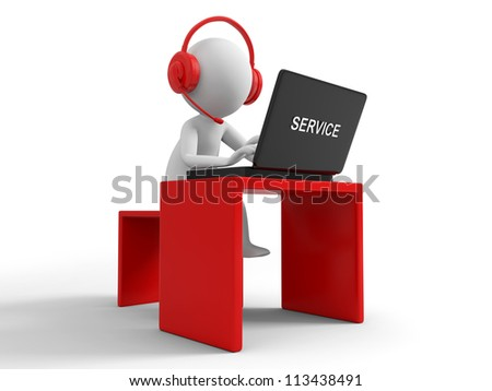 Desk/computer / a businessman working, sitting at a desk - stock photo