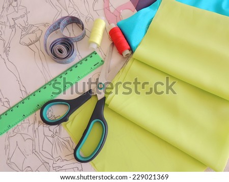 Desk designer clothing. - stock photo