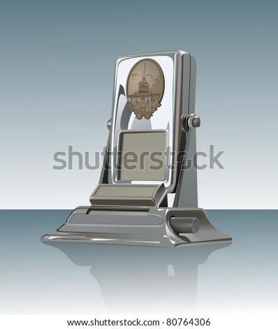 Desk metallic calendar on mirror surface. - stock photo