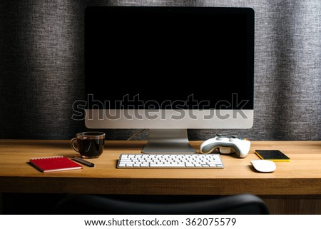 Desk of creative worker / Modern creative workspace - stock photo