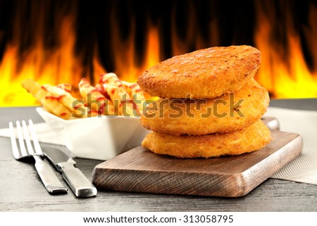 desk of food and fire background  - stock photo