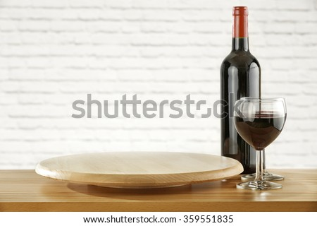 desk of kitchen white wall and wine place  - stock photo