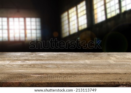 desk of wood and interior with sunlight  - stock photo