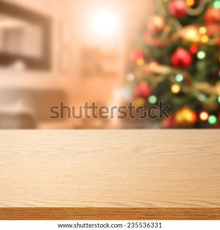 desk of xmas tree  - stock photo