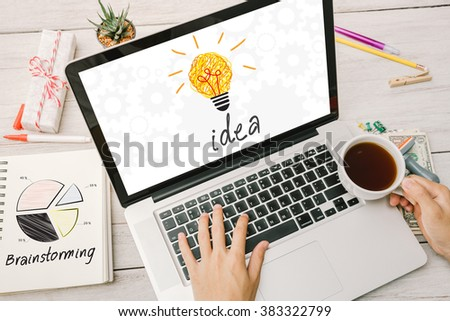 """Desk office with """"Idea"""" Business concept.  - stock photo"""