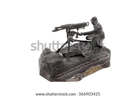 Desk set in form of French gunner from period WW1. In memory of battle by Mailly. France. 1914-18.