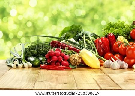 desk top vegetables and garden  - stock photo