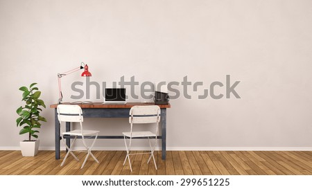 pictures of an office. desk with laptop computer standing in home office front of an empty wall 3d pictures