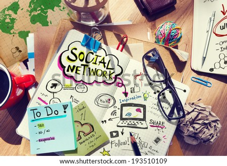 Desk with Social Network and Connection Concept - stock photo