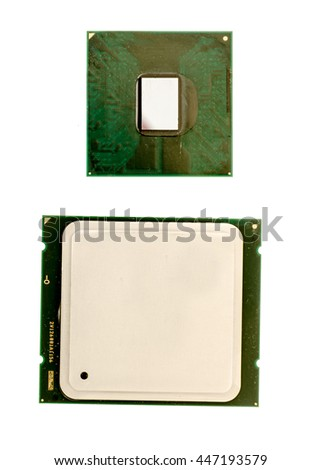 Desktop and laptop CPU's isolated on white background - stock photo