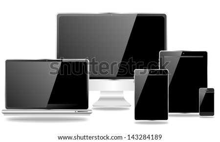 desktop and mobile devices with black screen - stock photo