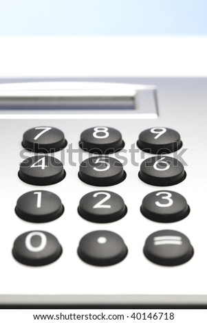 desktop calculator, closeup - stock photo