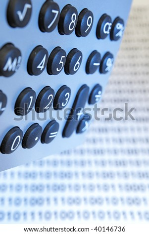 desktop calculator, closeup - IT budget - stock photo