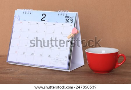 Desktop Calendar CLIP scheduled for February 14, 2015 of love. Valentine day - stock photo