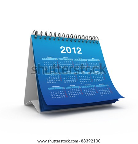 Desktop calendar for 2012 year isolated on white background
