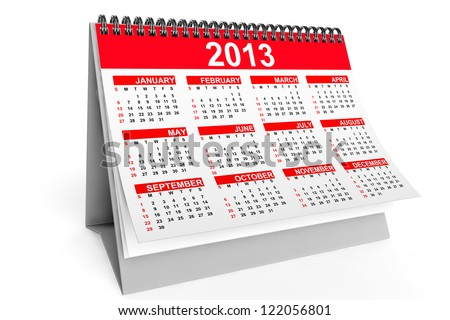 Desktop calendar for 2013 year on a white background - stock photo