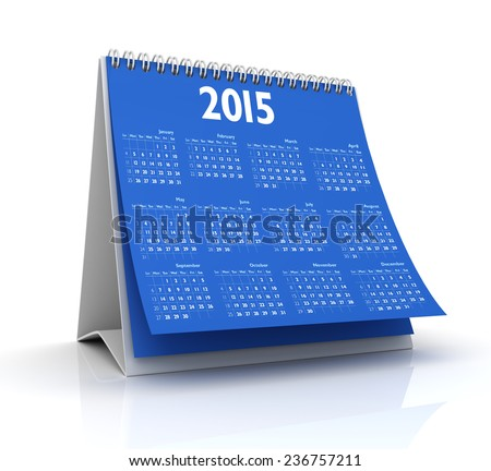 Desktop Calendar 2015 isolated in white background