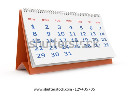 Desktop calendar isolated on white - stock photo