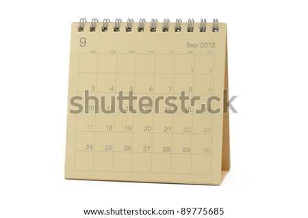 Desktop calendar September 2012 in isolated white background