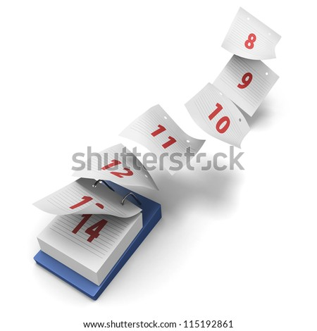 Desktop calendar showing how 7 days fly by on white background without day names as a generic second week - stock photo