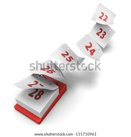 Desktop calendar showing how 7 days fly by on white background without day names as a generic fourth week - stock photo