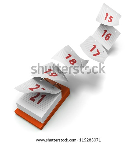 Desktop calendar showing how 7 days fly by on white background without day names as a generic third week - stock photo