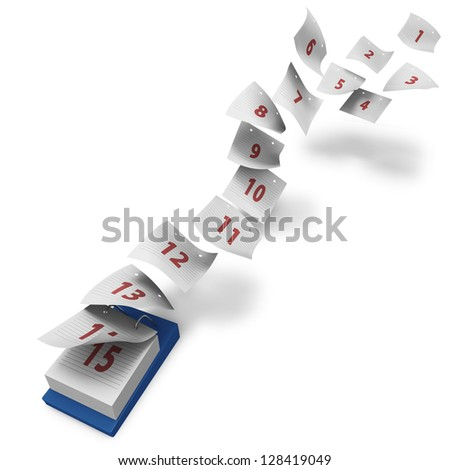 Desktop calendar showing how first 15 days fly by on white background generic without day names - stock photo
