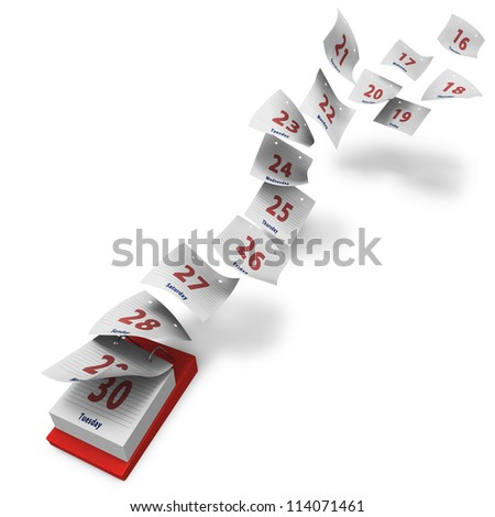 Desktop calendar showing how second 15 days fly by on white background - stock photo
