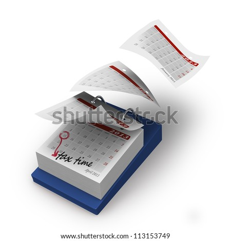 Desktop calendar with four months flying by till TAX TIME on white background - stock photo