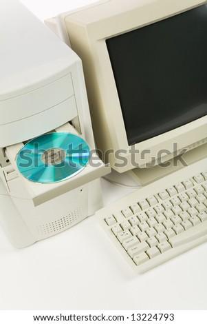 Desktop Computer and CD-ROM Drive close up shot - stock photo