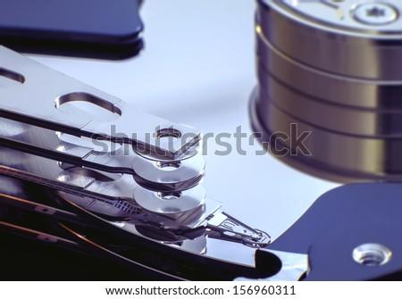 Desktop computer hard drive internal close up - stock photo