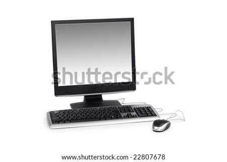 Desktop computer isolated on the white background - stock photo