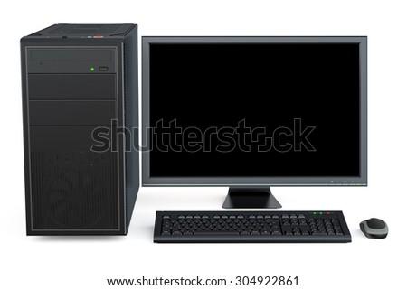 Desktop computer isolated on white background - stock photo